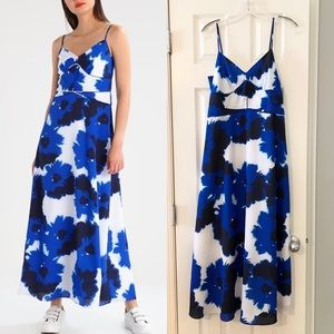 Banana Republic blue floral maxi dress with piping